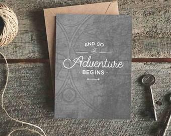 Adventure Begins Card, New Job Card, Graduation Card, Engagement Card, Traveller Card, Good Luck Card, New Baby Card, Moving Card, Congrats