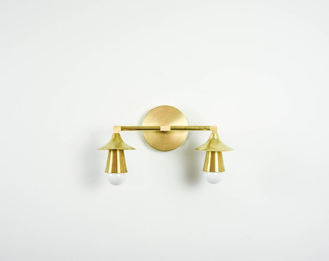Raw Brass Gold 2 Light Wall Bathroom Sconce Trumpet Cone Covers Vanity Modern Mid Century Industrial UL Listed