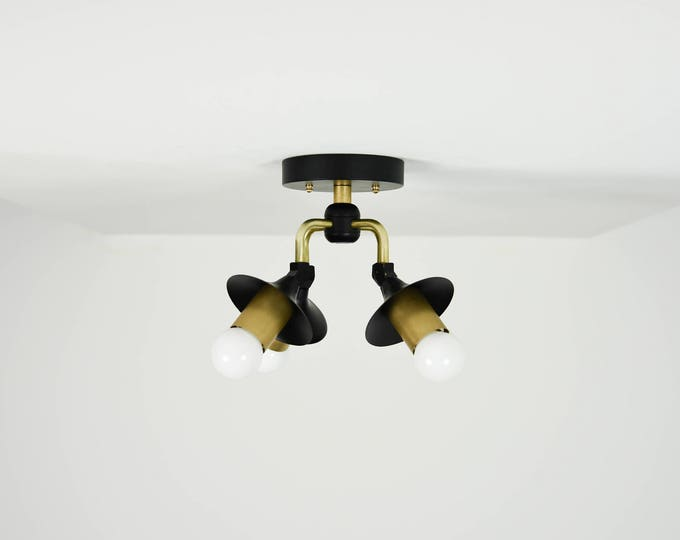 Modern Semi Flush Black and Brass Mixed 4 Bulb Angled Trumpet Cover Mid Century Semi Flush Industrial Light Modern UL Listed