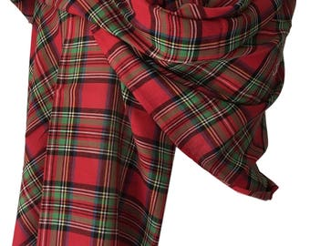 Tartan Scarf Royal Stewart Tartan Pure Cotton Red Green Black New Large Ladies or Mens Scarf  Fair Trade Wrap Shawl