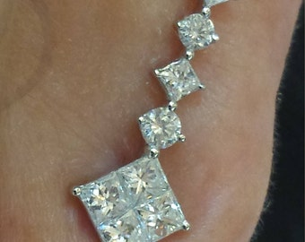 18 k white gold climber  diamond earrings