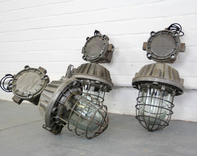 Brutalist Industrial Flameproof Pendant Lights Circa 1980s