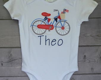 Personalized 4th of July Bicycle Bike Applique Shirt or Onesie Boy or Girl