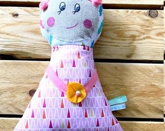 poupée de chiffon doudou rose, poupée fille, 25 cm.