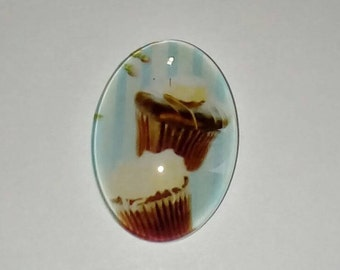 X 1 oval glass Cabochon double chocolate cupcake