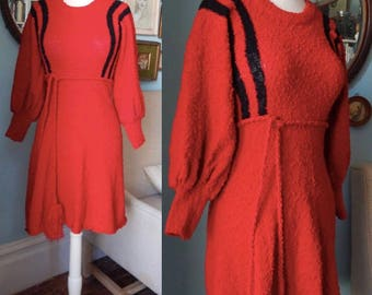 Vintage 1970's nubby knit dress a-line poet sleeve MOD cotton scooter stripe belted