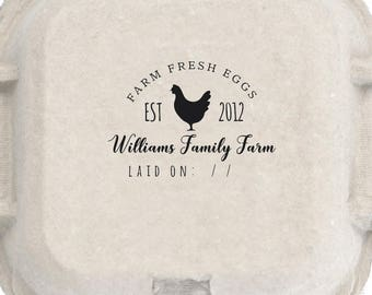Custom Chicken Coop Egg Stamp- Custom name rubber stamp - Chicken Just Laid Date - Coop Laurel Labels Rubber Stamp Pre-inked Stamp RE947