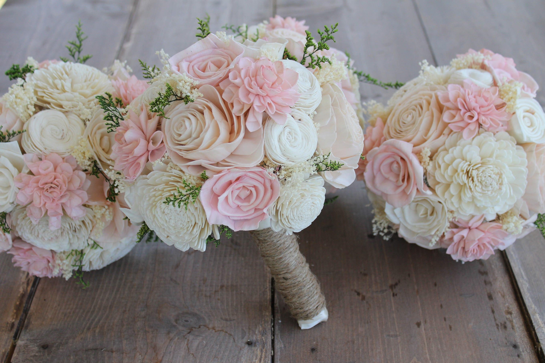 Blush Pink Light Pink & Cream Dahlia Sola Bouquet Pink