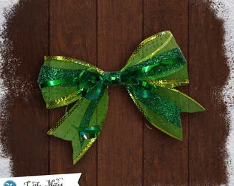 Sparkly Green Glitter Hair Bow | 3in French Barrette | Hand Crafted