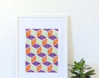 Hand embroidered poster tricolor 3D effect isometric pattern-textile art-contemporary wall decor-textile design-needle embroidery-wall art