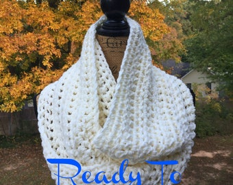 Infinity Scarf Ivory Winter White Ready To Ship Scarf Fall Winter Women's Accessory Infinity