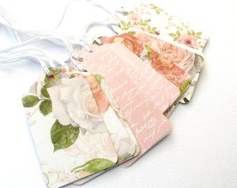 Floral gift tags. Blush pink and peach floral roses. Value pack. Gift wrapping tags. Birthday, bridal or baby shower, thank you gifts.
