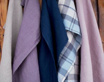 Set of 5 linen tea towels. Prewashed linen towel. Five soft linen dish towels. Set of 5 natural linen towels.