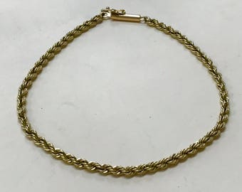 """14K Yellow Gold 3mm Rope 7"""" Chain Bracelet GREAT for GIFT!"""