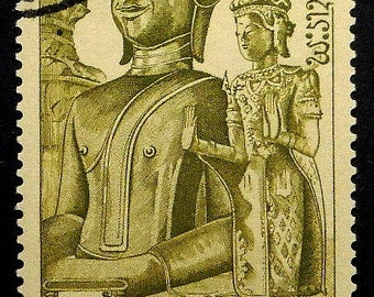 Buddha, Laos -Handmade Framed Postage Stamp Art 21788AM