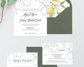 Lemon Wedding Invitations - Printable Wedding Invitations - Black and White Wedding Invitations - Green Wedding Invites - Lemon Watercolor