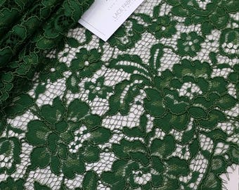 Green lace fabric by the yard, gold Lace, France Lace, Alencon Lace, Bridal lace, Wedding Lace, Embroidery lace, Evening dress lace L21936