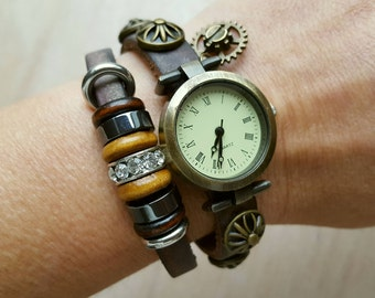 Antique Style Leather Bracelet Watch, Steampunk Watch, Vintage Style Watch, Quartz Wristwatch