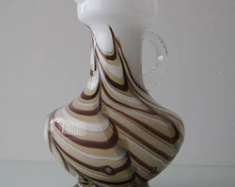 In the colours beige, brown and white, Italian e.g Florence Glass, circa 1970.