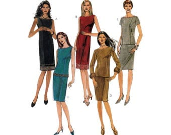 Sheath Dress or Bateau Neck Top and Skirt, Women's Sewing Pattern Misses / Petite Size 12-14-16 Uncut McCall's 2972