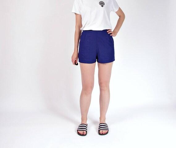 SALE - 70s Linen indigo high waisted shorts / size M-L