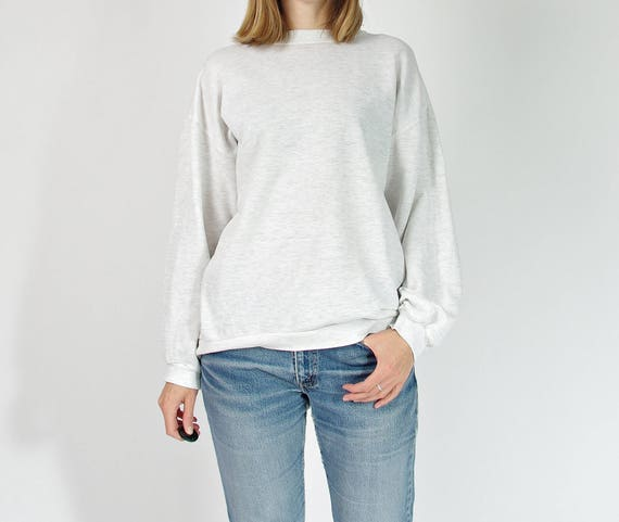 70s Wind paper-thin melange basic sweatshirt / size S-M-L