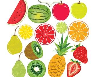 Summer Fruits Clip art, Summer fruits. Digital fresh fruit. Watermelon, pineapple, apple, lemon, orange, kiwi, pear, strawberry, fruits