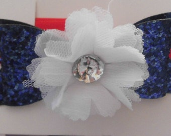 Blue Sparkly Bow and White Flower Headband