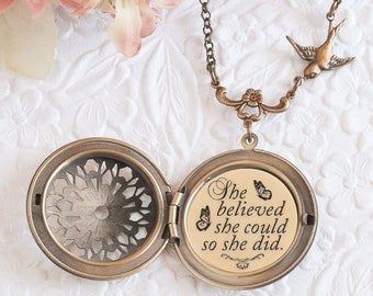 She believed she could so she did Quote Necklace Bronze Locket Graduation Gift College Gift Back to School Inspirational Jewelry