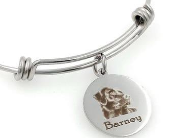 Black Lab, Chocolate Lab, Labrador Retriever Engraved Expandable Personalized Bangle Bracelet