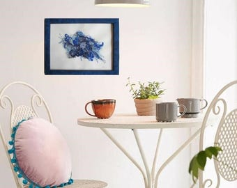 """Small textile abstract painting 10,6 x 8,3 in  (27 x 21 cm), """"Floral blue 1"""" pattern in felting, in blue frame under glass"""