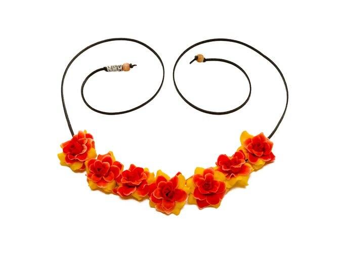 Orange Yellow Red Rose Flower Crown
