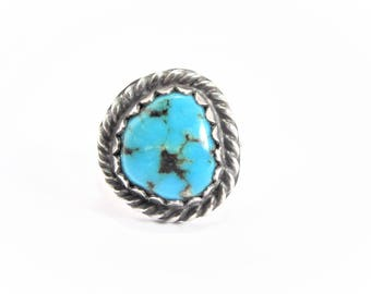 Vintage Native American Sterling Turquoise Ring Size 5.25