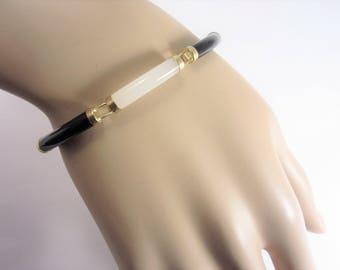 Vintage Black and White Gold Vermeil Link Bracelet