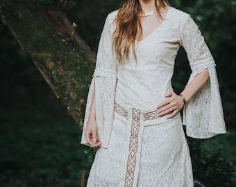 Celtic Handfasting Wedding Dress, Sleeved Wedding Dress, Celtic Wedding Dress, Woodland Dress, Custom made, Pagan, Simple Wedding