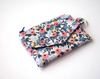 Floral Coin Purse, Small ID Wallet, Keychain Wallet, Floral Fabric, Card Holder