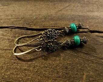 Boho Earrings, Dangle Earrings, Bronze Earrings
