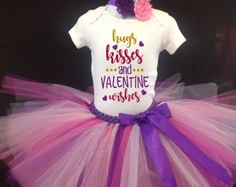Valentines Day Tutu Set, Pink Purple Tutu Set, Girls Tutu, Valentines Tutu, Valentines Shirt, 1st Valentines Tutu Set,  Valentines Purple