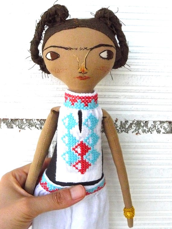 Frida Kahlo rag doll. 13 inches. Frida nº 22 2017 series.
