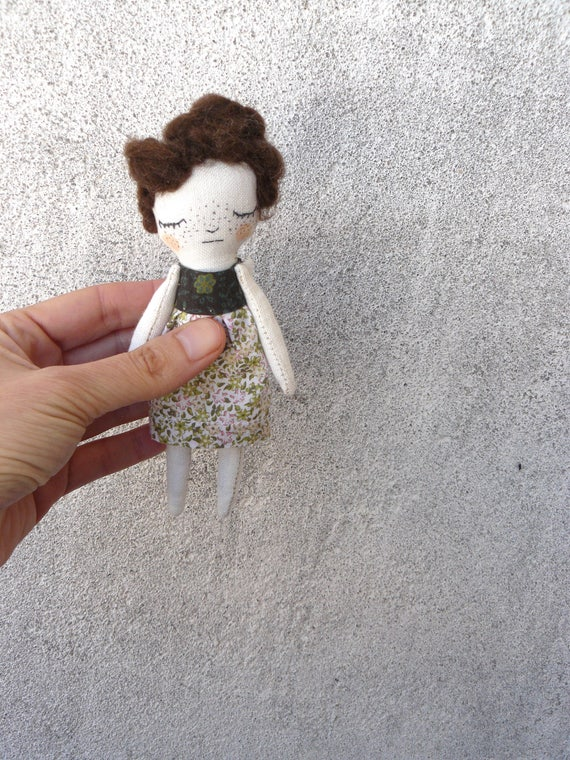 Mini art doll. 5,5 inches. Embroidered and painted. Merino wool hair.