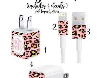 Iphone Charger Wrap, Monogram Iphone charger decal in Pink Leopard Print with Quatrefoil Monogram