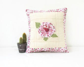 Rose pillow cover, Patchwork cushion cover, floral patchwork pillow cover, paper piecing, small quilted cushion, handmade in the UK