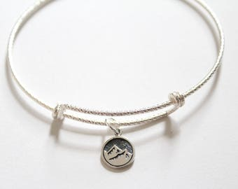 Sterling Silver Bracelet with Sterling Silver Earth Element Charm, Earth Element Charm Bracelet, Earth Element Bracelet, Mountain Bracelet