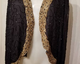 FREE  SHIPPING   1980  Silk  Bead  jacket
