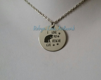 I Love My Rescue Cat Engraved Stainless Steel Disc Necklace with Kitten & Paw Prints on Silver Crossed Chain or Black Faux Suede Cord
