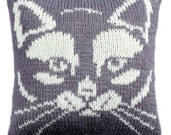 Kitty Cushion, knitted cushion cover pattern, pdf, cushion knitting pattern, cat cushion cover, knitting patterns, pdf pattern, cat pattern