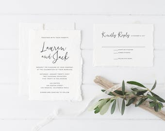 Printable Wedding Invitation Set | Simple Calligraphy Invitation Set | Minimalist Wedding Invitation | Wedding Invitation Suite | WI-027