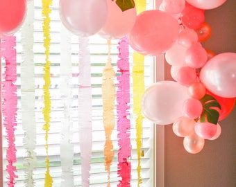 Fringed Paper Streamers Paper Backdrop Streamer Ideas Backdrop ideas Party Backdrop Wedding Backdrop Photo Booth backdrop Balloon Ideas