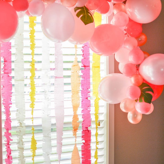 Items similar to fringed paper streamers paper backdrop for How to make a balloon and streamer backdrop