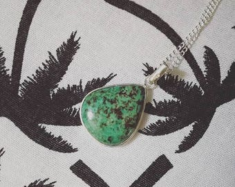Chrysocolla stone pendant necklace natural green turquoise, Brown and silver plated, boho necklace